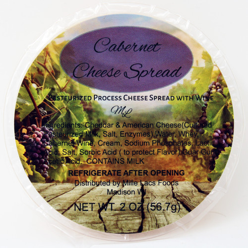 43230A 2oz Mille Lacs Cabernet Wine Cheese Cup, shelf stable cheese spread with Cabernet Wine