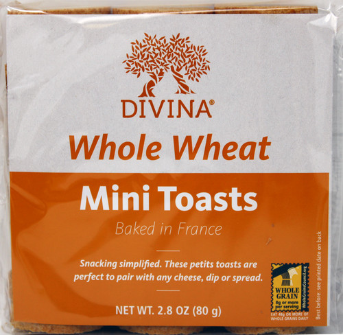8118 2.8oz Divina Whole Wheat Mini Toasts baked in France