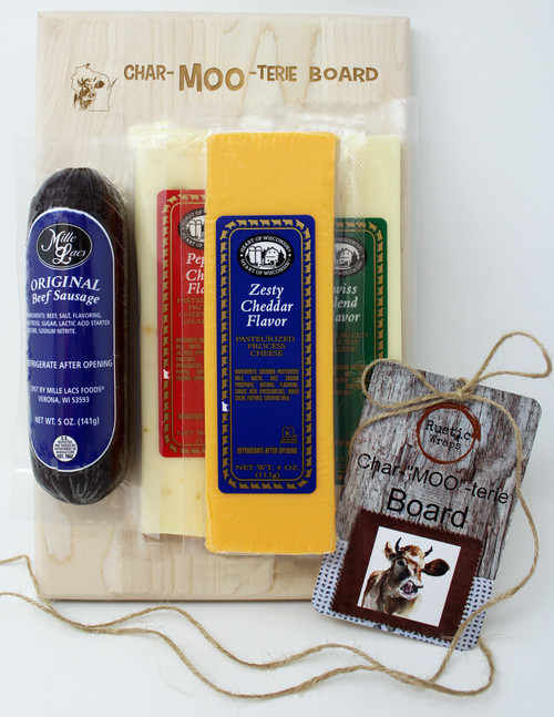 "MOO100 Heart of WI Small Char Moo Gift. This gift is made with Heart of Wisconsin 4oz cheese bars, Pepper, Zesty Cheddar and Swiss Blend.  Also contains 5oz of Mille Lacs all beef summer sausage.  Engraved with Rustic Wraps Char-""MOO""-terie logo and hang tag The hardwood cutting board is made and engraved by persons with disabilities in the state of WI.  This Charcuterie Board had no pork but is made from a very lean, high quality sausage made in the state of WI.  The cheeses are shelf stable also made in the state of Wisconsin."