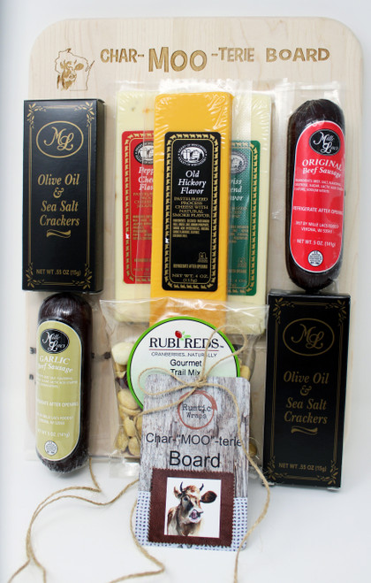 "MOO300 Rustic Wraps Heart of WI Char-MOO-Terie 13 x 9.75 board gift, Heart of Wisconsin 4oz shelf stable cheese bars, pepper, Old Hickory and Swiss.   Contains Mille Lacs 5oz all beef summer sausage and Mille Lacs 5oz all beef and garlic summer sausage, 4.5oz Rubi Reds Gourmet Trail Mix,  Mille Lacs Olive Oil and Sea Salt Crackers 1.10oz,  engraved with Rustic Wraps Char-""MOO""-terie logo and hang tag, the hardwood cutting board is made and engraved by persons with disabilities in the state of WI, this Charcuterie Board had no pork but is made from a very lean, high quality sausage made in the state of WI, the cheeses are shelf stable also made in the state of Wisconsin,  the Rubi Reds Gourmet Trail Mix is made in Wisconsin, Gourmet Wisconsin Gifts"