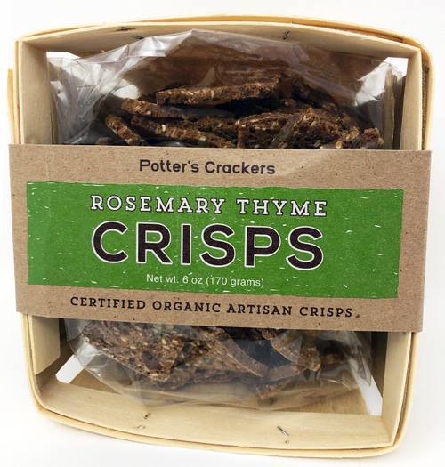 7603 6oz Potter's Crisps Rosemary Thyme Certified Organic, Artisan Crackers are made with whole wheat flour locally milled in the Midwest.  Butter for our crackers are from Grass Fed Wisconsin cows.  All products that are used to make these crackers are from small, local farms, therefore utilizing the freshest, highest quality ingredients to yield the greatest flavor in each bite