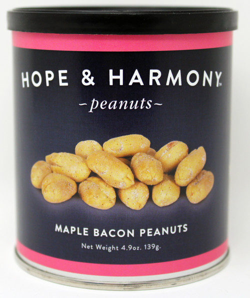 7700 4.9oz Maple Bacon Peanuts Hope & Harmony Peanuts are a select variety of nuts chosen for their classic style and flavor.  High quality is assured through our strict adherence to our time honored Virginia recipe.