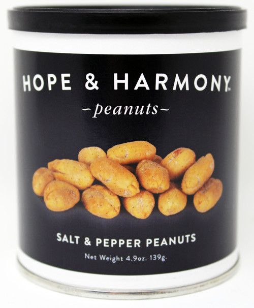 7701 4.9oz Salt and Pepper Peanuts Best By Date: 2/17/22 7701  Hope & Harmony Peanuts are a select variety of nuts chosen for their classic style and flavor.  High quality is assured through our strict adherence to our time honored Virginia recipe.