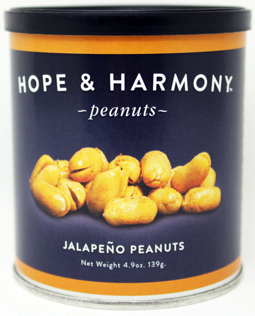 7702 4.9oz Jalapeno Peanuts Hope & Harmony Peanuts are a select variety of nuts chosen for their classic style and flavor.  High quality is assured through our strict adherence to our time honored Virginia recipe.