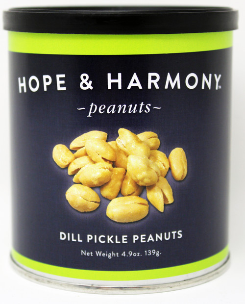 7703 4.9oz Dill Pickle Peanuts Hope & Harmony Peanuts are a select variety of nuts chosen for their classic style and flavor.  High quality is assured through our strict adherence to our time honored Virginia recipe.