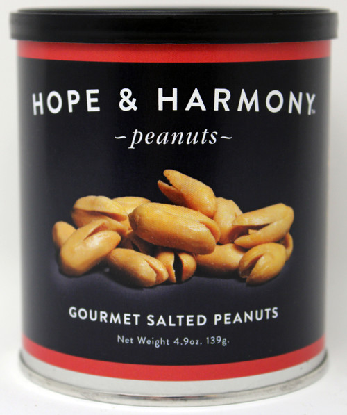 7704 4.9oz Gourmet Salted Peanut Hope & Harmony Peanuts are a select variety of nuts chosen for their classic style and flavor.  High quality is assured through our strict adherence to our time honored Virginia recipe.