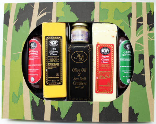 ML7190 Mille Lacs Camo Cheese and Sausage Gift Contains 5oz of Mille Lacs All Beef Gourmet Summer Sausage, 5oz of Mille Lacs All Beef Gourmet Garlic Summer Sausage, 4oz Mille Lacs Old Hickory Cheese, 4oz of Mille Lacs Pepper Cheese, 1.4oz of Mille Lacs Mustard and .55oz of Mille Lacs Olive Oil and Sea Salt Crackers.