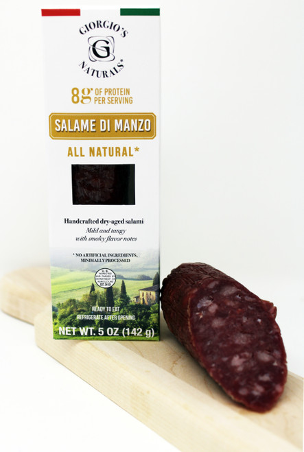 6301 Beef Salame Di Manzo 5oz All Natural, Handcrafted dry-aged Salami.  Mild and Tangy with smoky flavor notes.  No artificial ingredients, Minimally Processed.  Ready to Eat, Refrigerate after opening.  Gluten Free, No MSG, Milk Free, No Nitrate or added Nitrate, Raised without Hormones or Antibiotics.