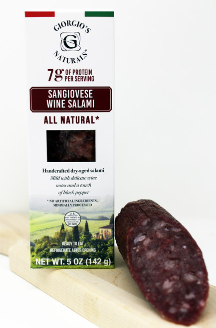 6302 Pork Sangiovese Wine Salami, All Natural, Handcrafted dry-aged Salami.  Mild with delicate wine notes and a touch of black pepper.  No artificial ingredients, Minimally Processed.  Ready to Eat, Refrigerate after opening.  Gluten Free, No MSG, Milk Free, No Nitrate or added Nitrate, Raised without Hormones or Antibiotics.