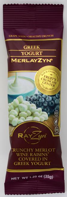 2909 1.25oz Greek Yogurt MerlayZyn by The Wine RayZyn Co, Crunchy Merlot Wine raisins covered in white, creamy Greek yogurt, Non GMO, All Natural, Gluten Free, Kosher Dairy, Gourmet Chocolate, Gift Basket Supplies