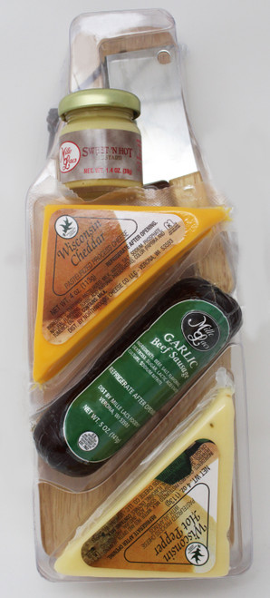 """ML7063 Mille Lacs Wooden Paddle Board Gift  Gift Includes:  * Wisconsin Hot Pepper Cheese Wedge  