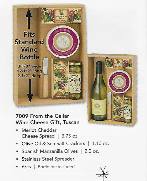 ML7009 Mille Lacs From The Cellar Wine and Cheese Gift TUSCAN DESIGN *  Mille Lacs Merlot Cheddar Cheese Spread  |  3.75 oz *  Mille Lacs Olive Oil & Sea Salt Crackers  |  1.10 oz  * Mille Lacs Spanish Manzanilla Olives  |  2.0 oz  * Stainless Steel Spreader   Wine Bottle Not Included