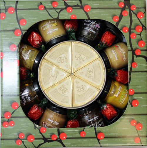 ML7032 Mille Lacs Honey, Mustard, Brie Go Round Gift ML 7032 Mille Lacs Honey, Mustard, Brie Go Round Gift 6/case $25.00 each $150.00/case  1.25oz Honey Hot Mustard  1.25oz Honey Dill Mustard  1.5oz Raspberry Honey Spread  1.5oz Wildflower Honey   1.5oz Cinnamon Honey Spread   1.5oz Lemon Honey Spread  1.5oz Orange Blossom Honey   1.5oz Clover Honey  4.02oz of Brie Cheese Spread Wedges