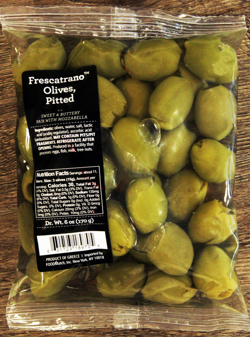 8305 6oz Frescratrano Olives Pitted, Sweet and Buttery, pairs well with Mozzarella cheese