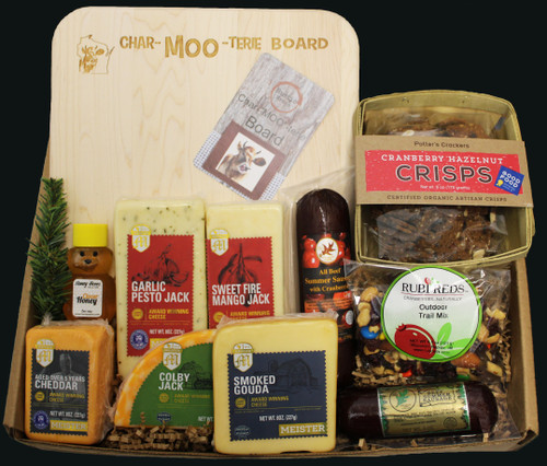 MOO600 Naturally MOOtastic Natural Cheese Gift, Inspired by Rustic Wraps, contains refrigerated cheese and gourmet foods.   Contains: 13x9.75 inch engraved Char-MOO-terie hardwood cutting board, made and engraved in the state of Wisconsin by persons with disabilities 7oz Northwoods Cheese Cranberry Summer Sausage 5oz  Northwoods Cheese All Beef Summer Sausage Green Label  2oz Clover Honey Bear 8oz 5yr Aged Cheddar Meister Cheese 8oz Smoked Gouda Square Meister Cheese 8oz Colby Jack Half Moon Cheese Meister Cheese 8oz Garlic Pesto Jack Bar Meister Cheese 8oz Sweet Fire Mango Jack Cheese Meister Cheese 4.5oz Rubi Reds Outdoors Trail Mix  6oz Potter's Crisps Cranberry Hazelnut Cracker This gift is shipped in a cooler box with ice to help protect it when shipping  All Gourmet Food Products Contained in the Gift are Made in the State Of Wisconsin  $115.00 with free shipping