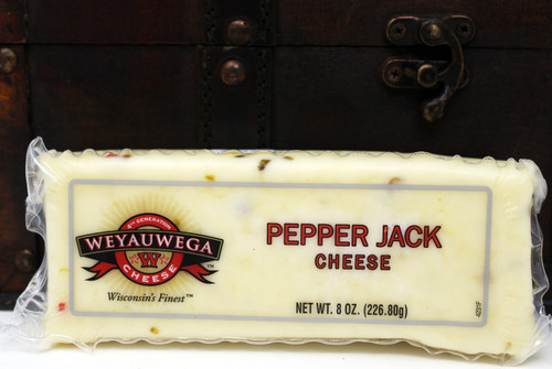 2210 Weyauwega Pepper Jack Cheese 8oz, Made in Wisconsin, Pepper Jack cheese offers a rich, zesty flavor for the palate. Jalapeno and Habanero peppers give the cheese its spicy temperament, while mild Monterey Jack balances the heat with delicate, buttery notes. The texture of the cheese is creamy, semi-soft and open — making it perfect for melting, cooking or for sandwiches. It's the not-so-distant cousin of Monterey Jack cheese, which was first created in Monterey, CA. Pepper Jack is delicious with quesadillas, sandwiches, crackers, hamburgers and grapes. It pairs well with white zinfandel, merlot, chardonnay and pinot noir.