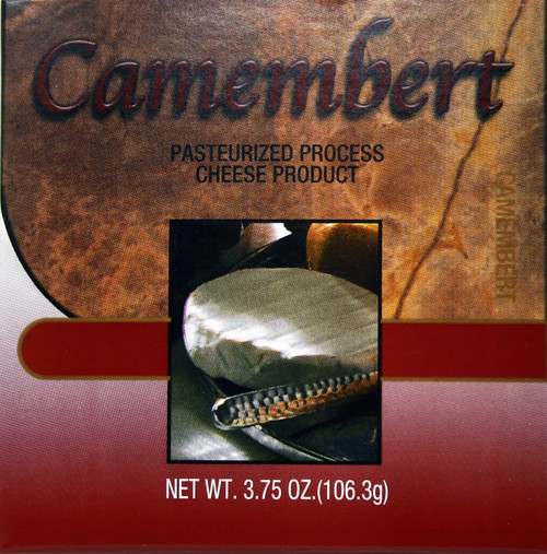1017 3.75 oz. Camembert Cheese Spread Box Shelf Stable Cheese.  Two Sided Design for Versatility