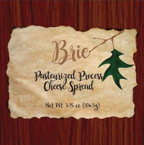 1136 3.75oz Wood Grain Brie Cheese Spread Box-Shelf Stable Cheese Spread