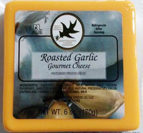1000 6 oz. Roasted Garlic Cheese Square Shelf Stable Cheese. Gluten Free, Non-GMO, Kosher.