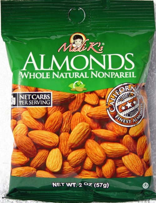 8194 2oz Madi K Natural Almonds Green Bag