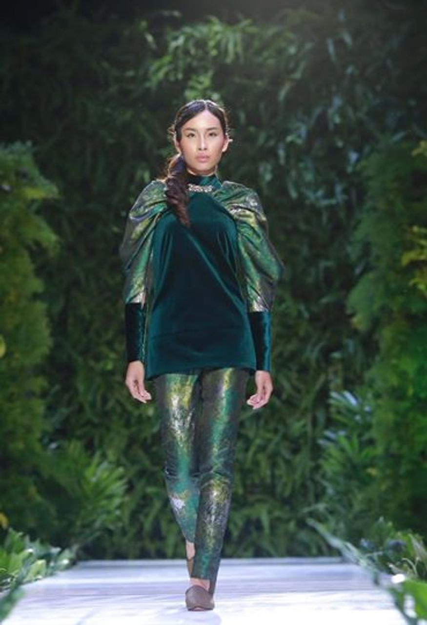 Brocade Ruched Sleeves Velvet Top And Pattern Slim Leg Pants