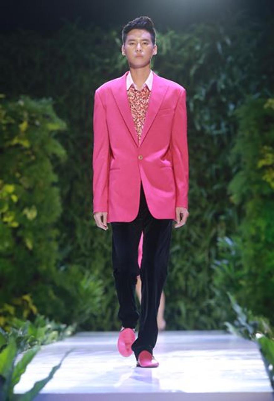 Hot Pink Oversized Men Wool Blend Blazer With Black Velvet Pants