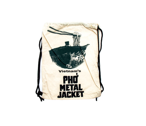 One of Papaya's most iconic spoof designs, screenprinted on a handmade 100% natural cotton drawstring backpack.