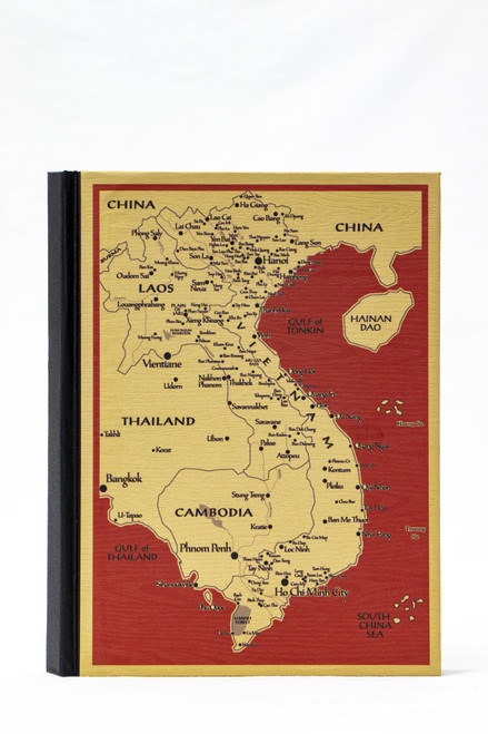 Handmade hardcover notebook with unbleached paper and original Map of Vietnam design on the cover