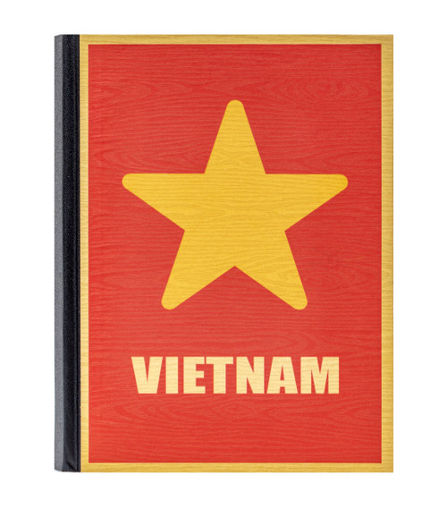 Handmade hardcover notebook with unbleached paper and original Vietnam Star design on the cover