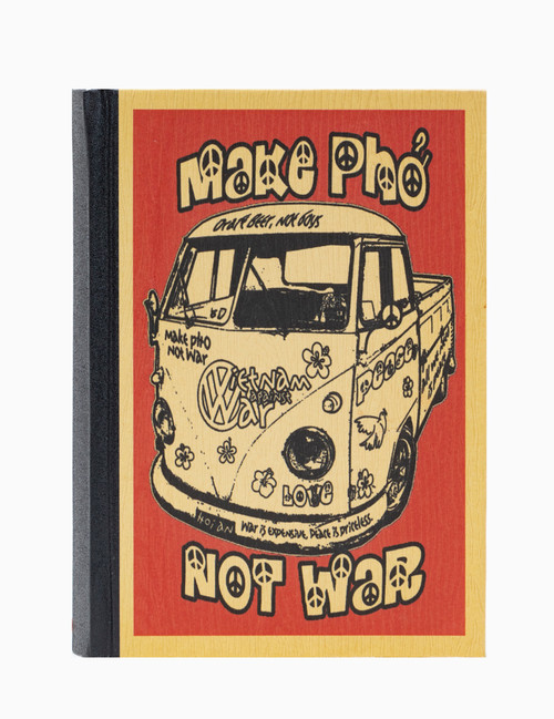 Handmade hardcover notebook with unbleached paper and original Make Pho Not War design on the cover