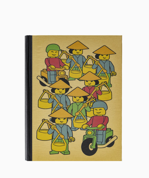 Handmade hardcover notebook with unbleached paper and original Lego Vietnam design on the cover