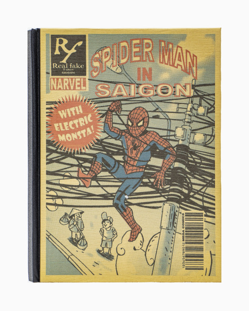 Handmade hardcover notebook with unbleached paper and original Spiderman in Saigon design on the cover