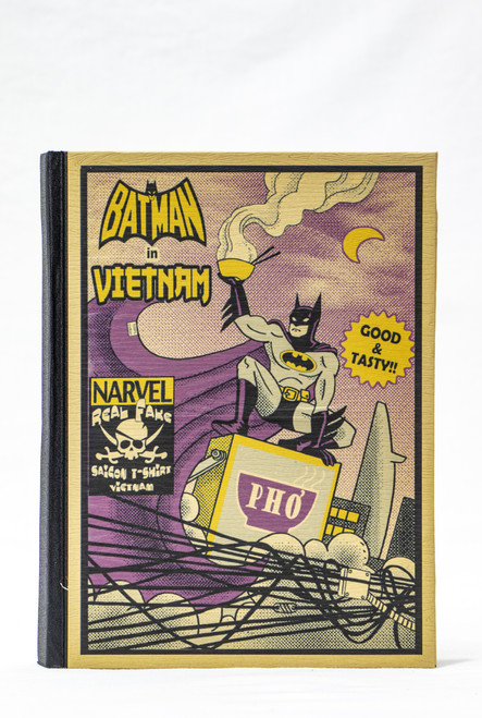 Handmade hardcover notebook with unbleached paper and original Batman in Vietnam design on the cover