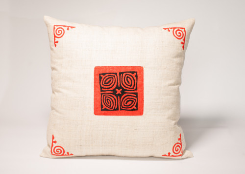 This cushion cover is hand-loomed from natural hemp, and decorated with the symbolic Ram's horn motif symbolizing Wisdom, particular to Hmong artisans in northern Vietnam.