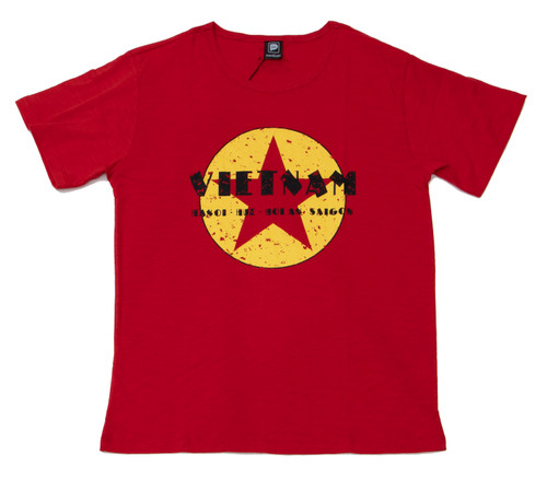 Papaya's eye-catching Vietnam Star design screenprinted on a high-quality 100% natural cotton t-shirt