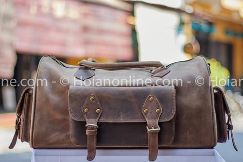 Beautiful vintage styled buffalo leather duffel bag