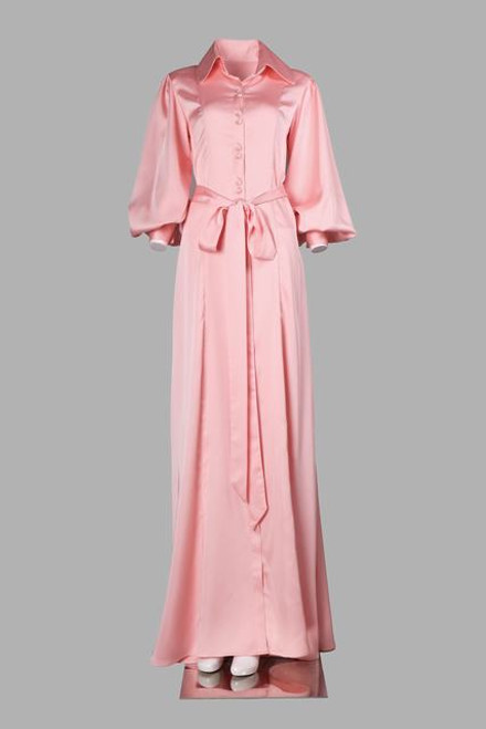 Belted satin long silk shirt dress