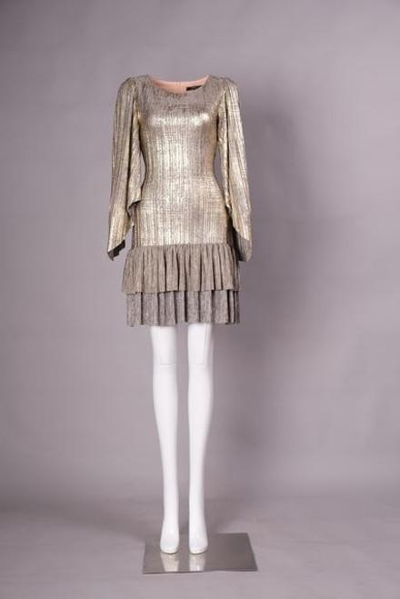 Glamorous ruffle gold dress
