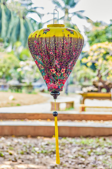100% Handmade Yellow Floral patterned Silk Lantern in Large Teardrop style, the symbol of Hoi An. Perfect Decoration for Indoor or Outdoor use.