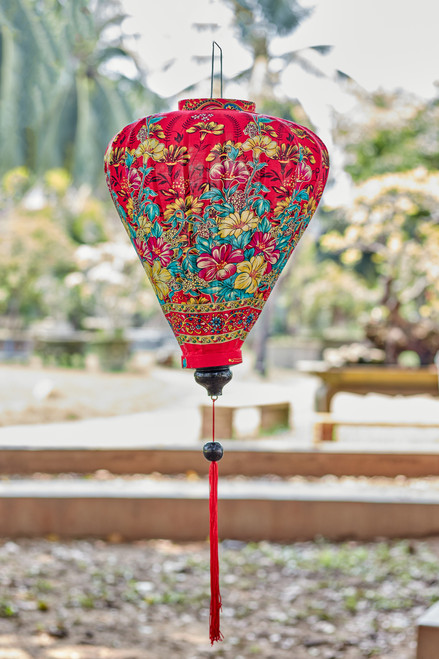 100% Handmade Red Floral patterned Silk Lantern in Large Teardrop style, the symbol of Hoi An. Perfect Decoration for Indoor or Outdoor use.