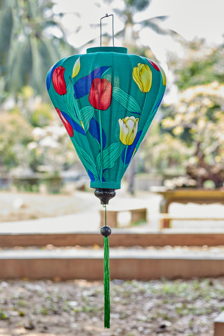 100% Handmade Teal Tulip patterned Silk Lantern in Large Teardrop style, the symbol of Hoi An. Perfect Decoration for Indoor or Outdoor use.