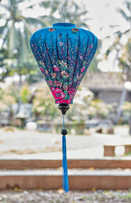 100% Handmade Blue Floral patterned Silk Lantern in Large Teardrop style, the symbol of Hoi An. Perfect Decoration for Indoor or Outdoor use.