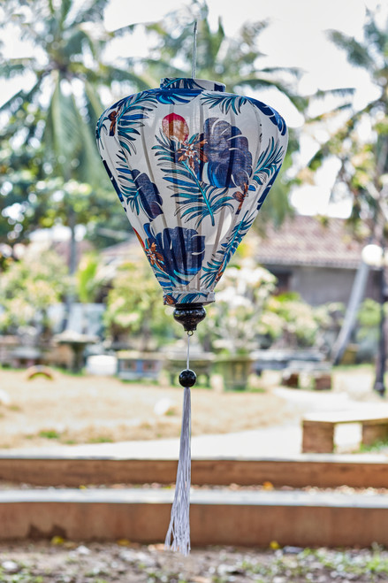100% Handmade Blue and White Floral patterned Silk Lantern in Large Teardrop style, the symbol of Hoi An. Perfect Decoration for Indoor or Outdoor use.