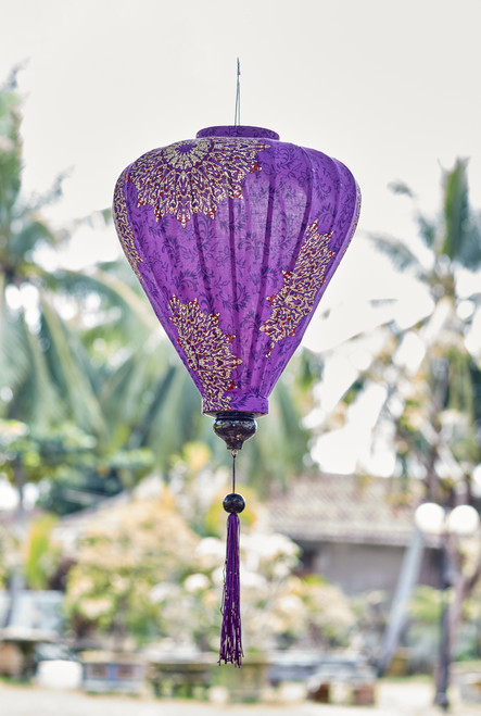 100% Handmade Purple Paisley Mandala patterned Silk Lantern in Large Teardrop style, the symbol of Hoi An. Perfect Decoration for Indoor or Outdoor use.