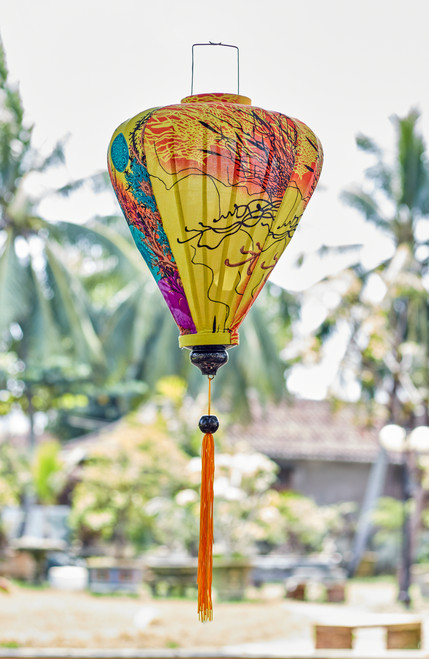 100% Handmade Yellow Abstract patterned Silk Lantern in Large Teardrop style, the symbol of Hoi An. Perfect Decoration for Indoor or Outdoor use.