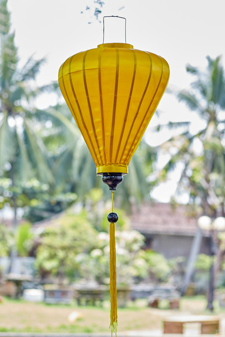 100% Handmade Solid Glossy Yellow patterned Silk Lantern in Large Teardrop style, the symbol of Hoi An. Perfect Decoration for Indoor or Outdoor use.