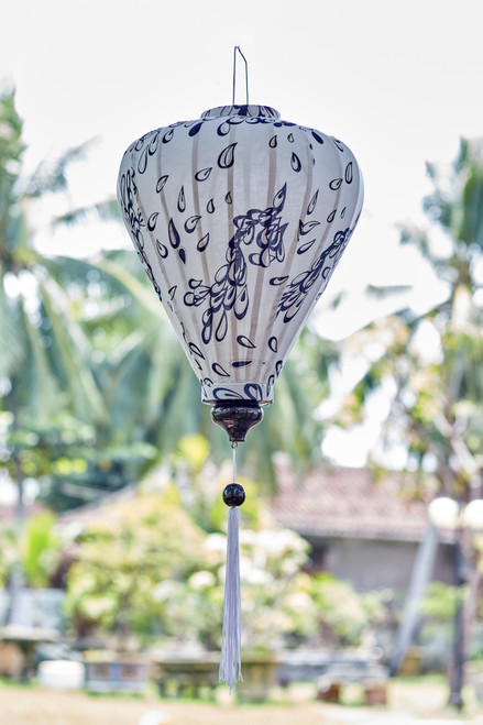 100% Handmade Blue and White Decorative Paisley patterned Silk Lantern in Large Teardrop style, the symbol of Hoi An. Perfect Decoration for Indoor or Outdoor use.
