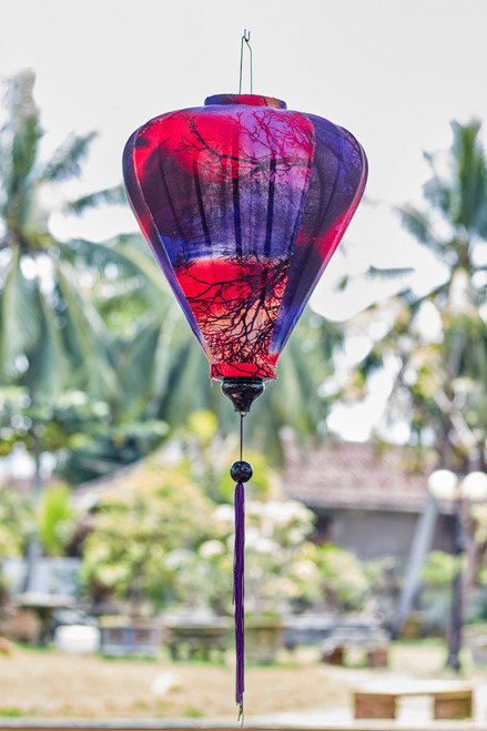 100% Handmade Sunset Braches patterned Silk Lantern in Large Teardrop style, the symbol of Hoi An. Perfect Decoration for Indoor or Outdoor use.