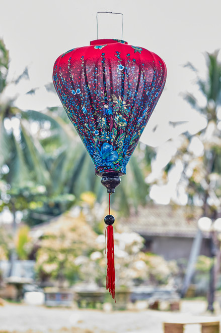 100% Handmade Red and Blue Floral patterned Silk Lantern in Large Teardrop style, the symbol of Hoi An. Perfect Decoration for Indoor or Outdoor use.