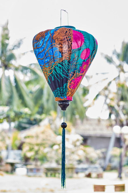 100% Handmade Teal and Blue Abstract Floral patterned Silk Lantern in Large Teardrop style, the symbol of Hoi An. Perfect Decoration for Indoor or Outdoor use.